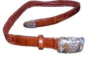 Brighton new brighton braided leather silver buckle belt - size small