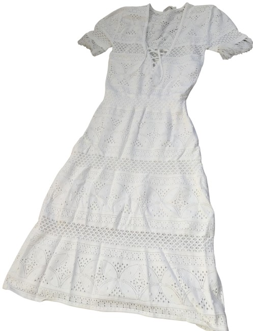 white Maxi Dress by A.L.C. Crochet Summer Fringe Lace Up Image 1