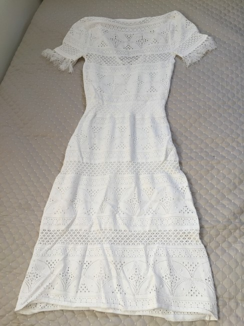 white Maxi Dress by A.L.C. Crochet Summer Fringe Lace Up Image 2