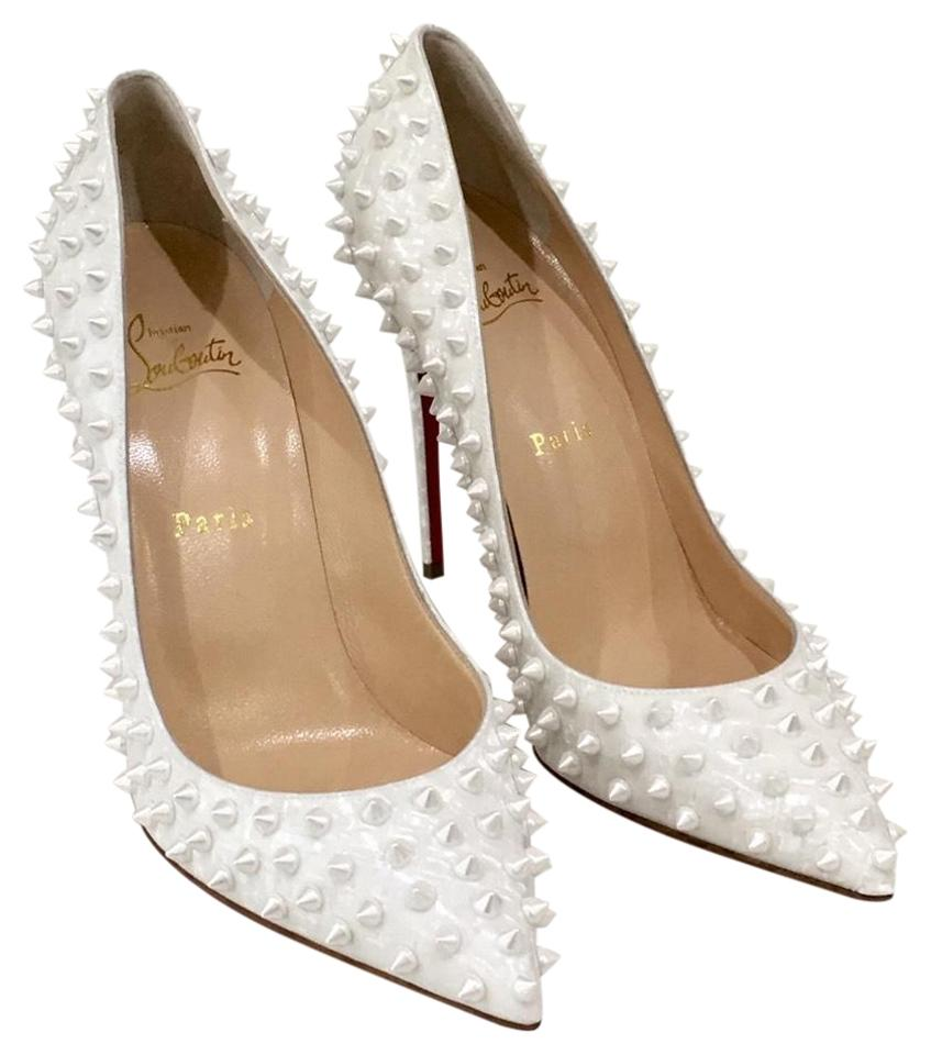 Christian Louboutin White Follies Spike Pointy Toe Pumps Size Eu