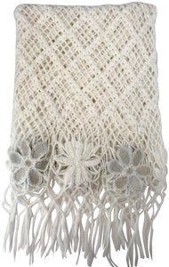 Unbranded WHITE LOOSE WEAVE CROCHET WOOL KNIT SHAWL, FRINGE & FLOWERS, SCARF 60