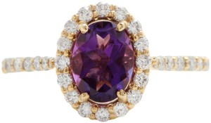 Other 1.91CTW Natural Amethyst & Diamonds in 14K Solid Yellow Gold Ring