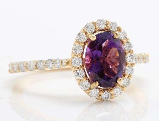 Other 1.91CTW Natural Amethyst & Diamonds in 14K Solid Yellow Gold Ring Image 2