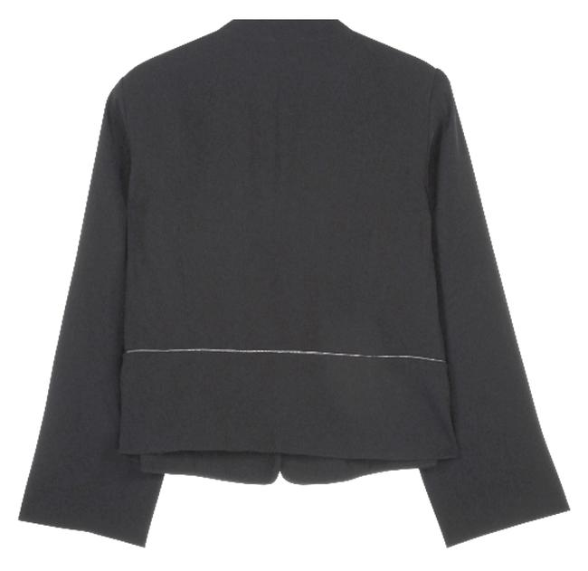 Eileen Fisher Leather Trim Fully Lined Black Blazer Image 1