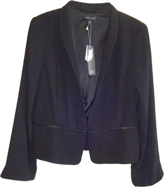 Eileen Fisher Leather Trim Fully Lined Black Blazer Image 2