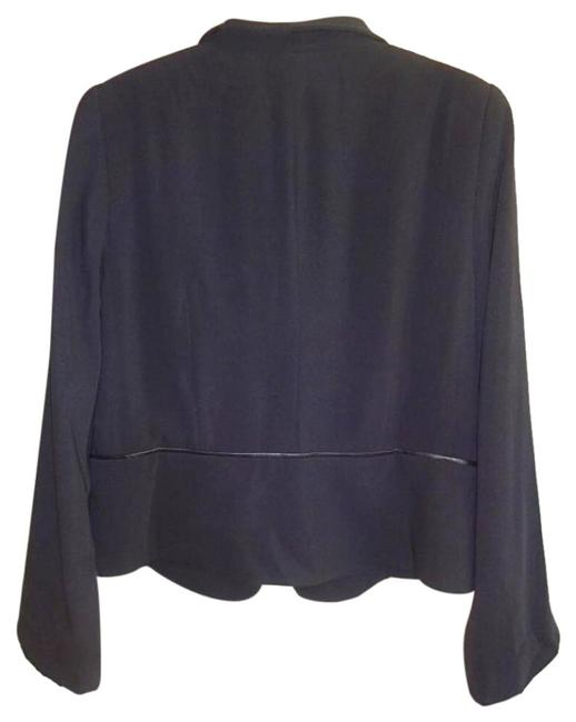 Eileen Fisher Leather Trim Fully Lined Black Blazer Image 3
