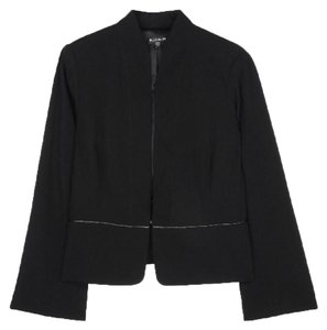 Eileen Fisher Leather Trim Fully Lined Black Blazer