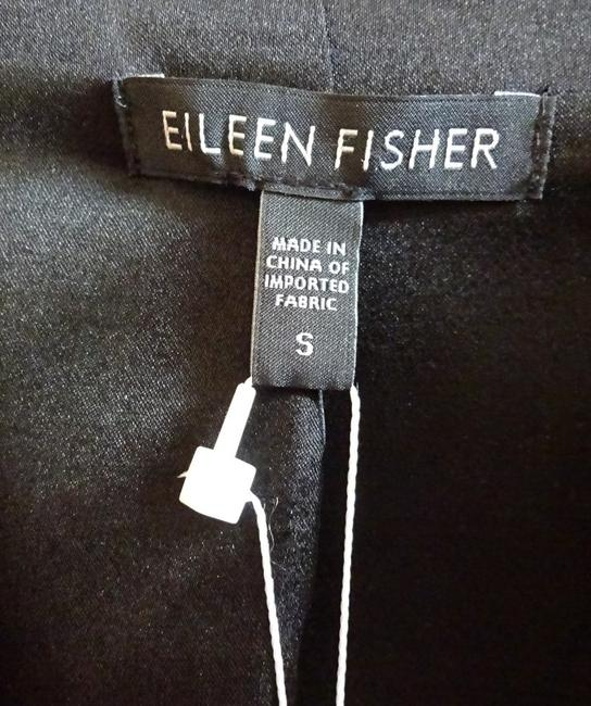 Eileen Fisher Leather Trim Fully Lined Black Blazer Image 4