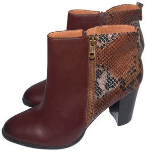 Nicole New Leather Fashion Brown & Snake Skin Boots