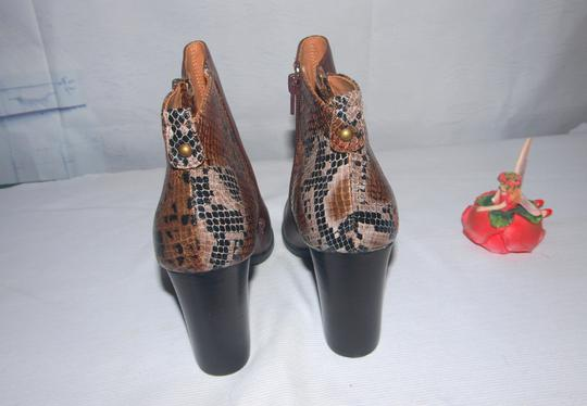 Nicole New Leather Fashion Brown & Snake Skin Boots Image 2
