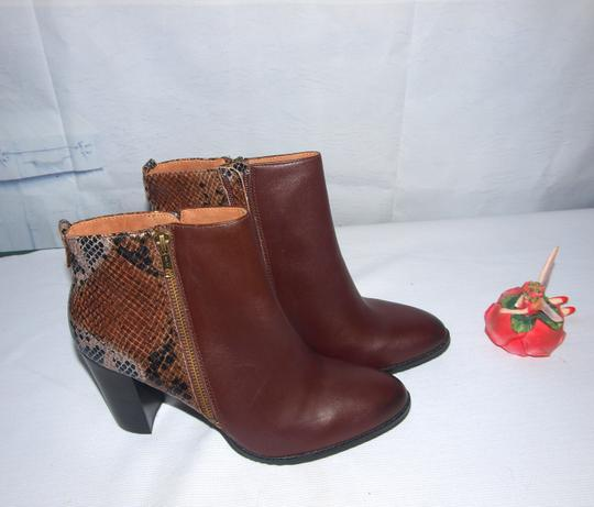 Nicole New Leather Fashion Brown & Snake Skin Boots Image 4