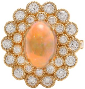 Other 3.05 CTW Natural Ethiopian Opal and Diamonds in 14K Solid Yellow Gold