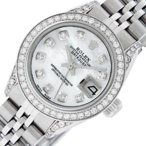 Rolex Ladies Datejust Ss/White Gold with MOP Diamond Dial Watch
