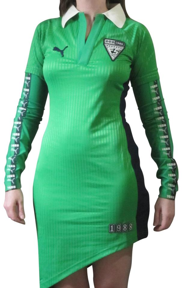 c82a5df5 FENTY PUMA by Rihanna Green Asymmetrical Jersey with Graphic Logos Short  Casual Dress Size 4 (S) 49% off retail