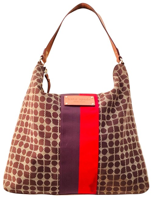 Item - Handbag New York Tote Red Brown White Cotton and Leather Hobo Bag