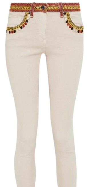 Item - Beige Embroidered Denim In Natural Skinny Jeans Size 8 (M, 29, 30)