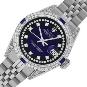 Rolex Ladies Datejust Ss/White Gold with Blue Vignette String Diamond Dial