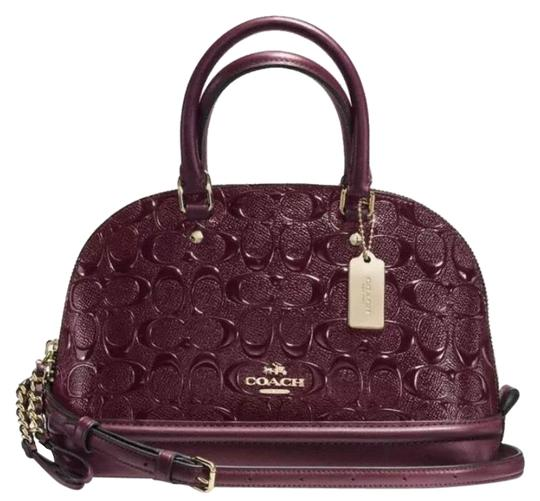Preload https://img-static.tradesy.com/item/25272350/coach-sierra-mini-in-signature-debossed-oxblood-patent-leather-satchel-0-1-540-540.jpg