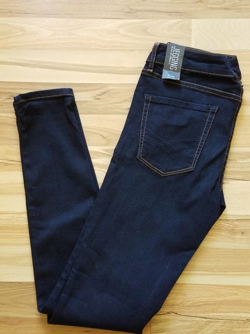 Aéropostale Blue New York Fit Stretchy Jeggings-Dark Rinse Image 3
