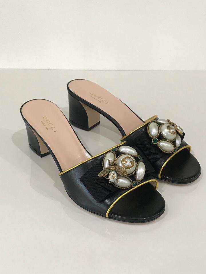 23bb90b9e78 Gucci Black Bee Embellished Chunky Heel Sandals Size EU 36 (Approx. US 6)  Regular (M