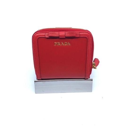 Prada Prada Portafoglio Light Red Vitello Move Zip Flap Bow Wallet 1ML522 Image 2