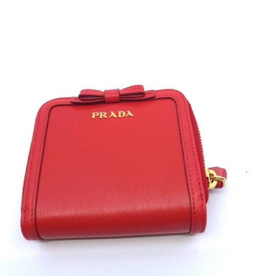 Prada Prada Portafoglio Light Red Vitello Move Zip Flap Bow Wallet 1ML522 Image 3