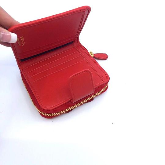 Prada Prada Portafoglio Light Red Vitello Move Zip Flap Bow Wallet 1ML522 Image 5
