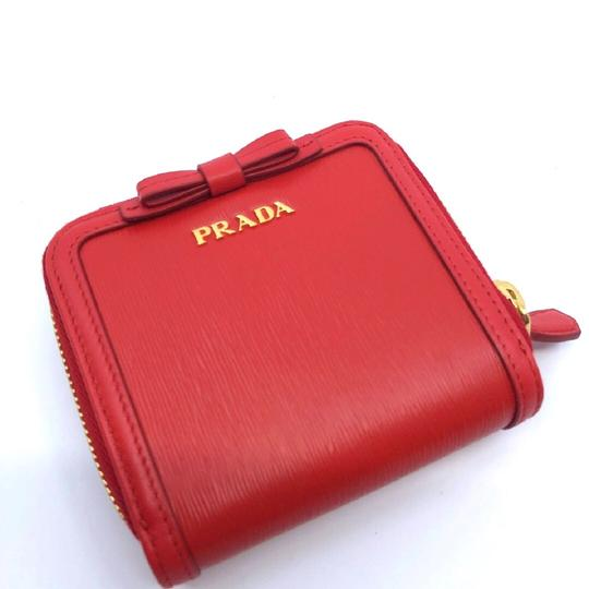 Prada Prada Portafoglio Light Red Vitello Move Zip Flap Bow Wallet 1ML522 Image 6
