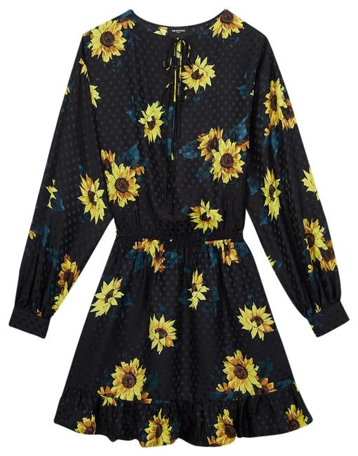 Item - Black with Floral Print Silk Sunflower Mid-length Short Casual Dress Size 2 (XS)