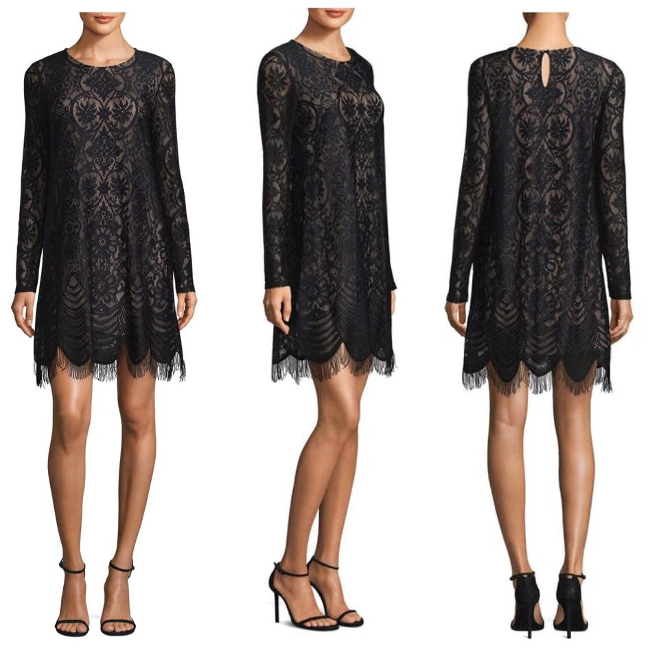4720d368e75 BCBGMAXAZRIA Black Long Sleeve Lace Shift Mid-length Cocktail Dress ...
