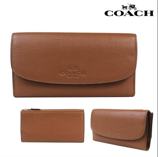 Coach $250 NWT PEBBLE LEATHER CHECKBOOK WALLET F52715 Image 1