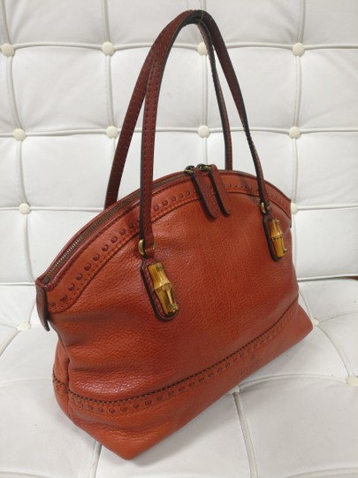 Gucci Bamboo Satchel Leather Dome Tote Image 3