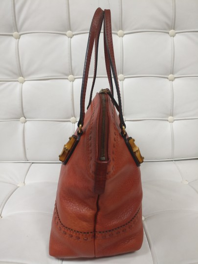 Gucci Bamboo Satchel Leather Dome Tote Image 4