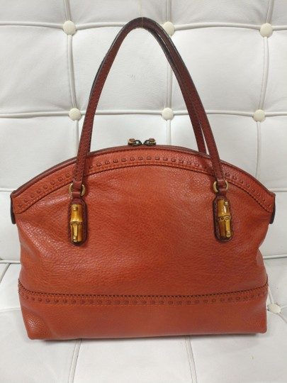 Gucci Bamboo Satchel Leather Dome Tote Image 5