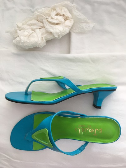 Jewels by Jade Turquoise and Lime Mules Image 3