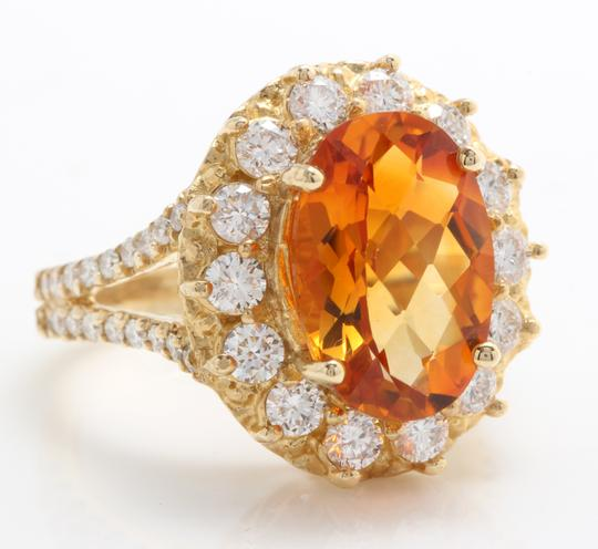 Other 5.31 CTW Natural Citrine & Diamond Women Ring Made in 14K Yellow Gold Image 1