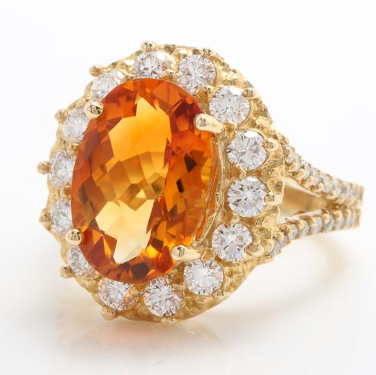 Other 5.31 CTW Natural Citrine & Diamond Women Ring Made in 14K Yellow Gold Image 3