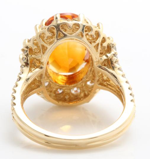 Other 5.31 CTW Natural Citrine & Diamond Women Ring Made in 14K Yellow Gold Image 4