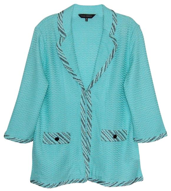 Preload https://img-static.tradesy.com/item/25272529/ming-wang-turquoise-black-v-neck-34-sleeve-cardigan-size-8-m-0-1-650-650.jpg
