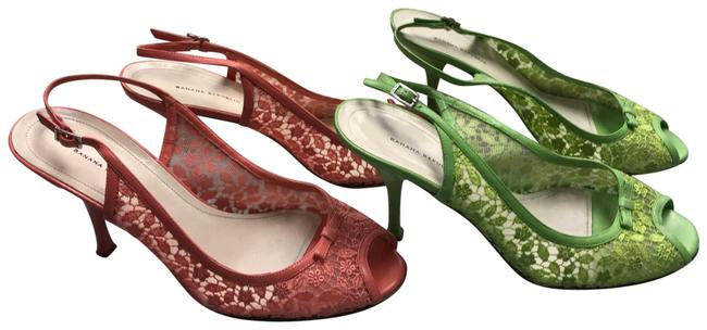 Item - Green/Pink Lot Of Leather Trim Embroidered Mesh Sandals B Pumps Size US 8 Regular (M, B)