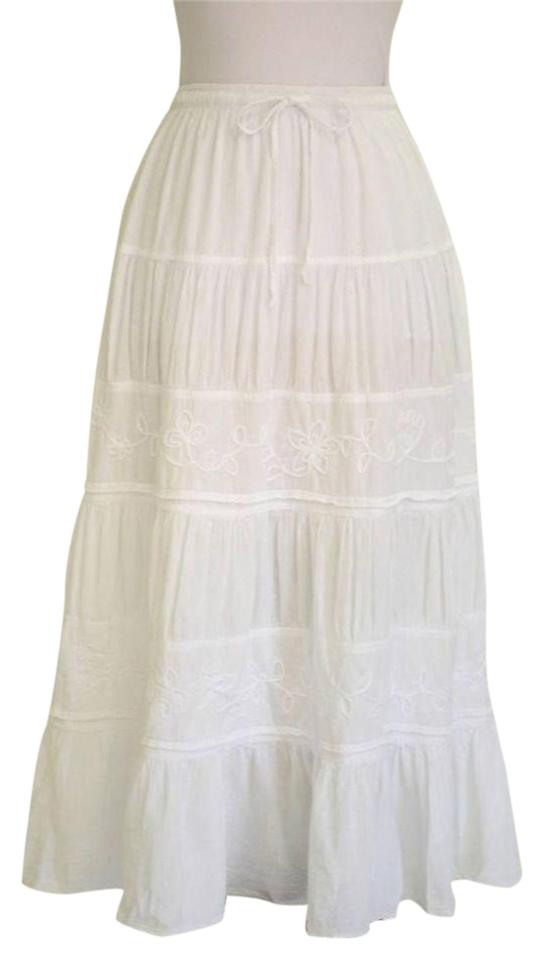 9358ab847 White Boho Embroidered Tiered Organic Cotton Skirt Size 10 (M, 31 ...