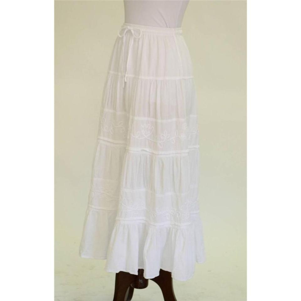 6bec5247c Caamano Bohemian Tiered Embroidered Anthropologie Maxi Skirt White Image 2.  123