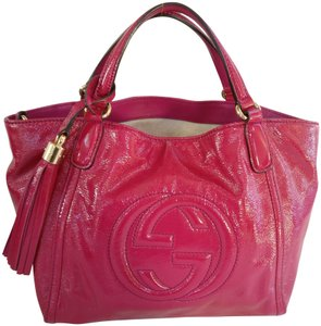 Gucci Soho Leather Tassels Pink Satchel Tote