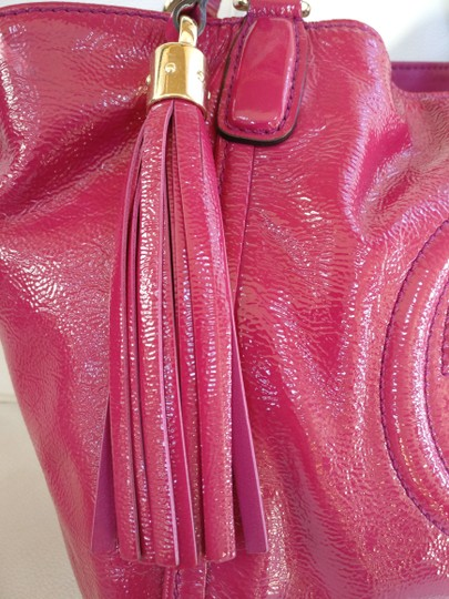 Gucci Soho Leather Tassels Pink Satchel Tote Image 11