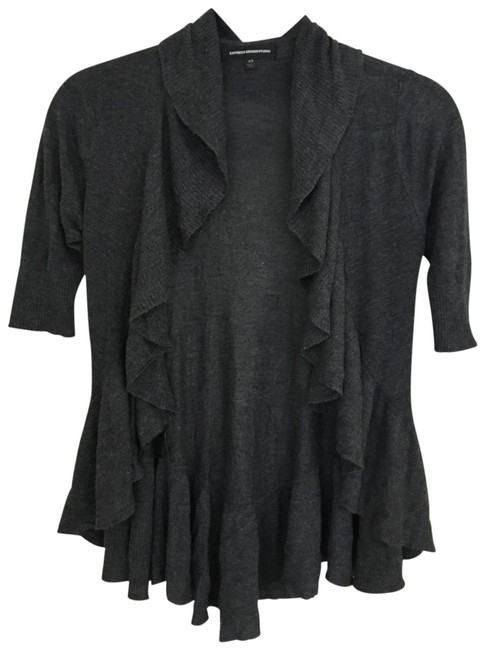 Preload https://img-static.tradesy.com/item/25272646/express-charcoal-grey-ruffled-cardigan-size-0-xs-0-1-650-650.jpg