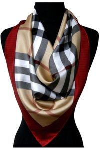 bd0626202973 Burberry Burberry classic check beige red silk scarf