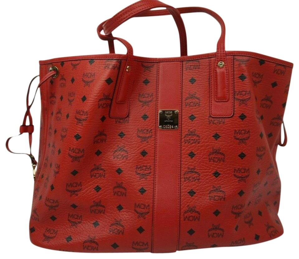 5c0ca382f78a5 MCM Liz Reversible Large Visetos Shopper Red Canvas Tote - Tradesy