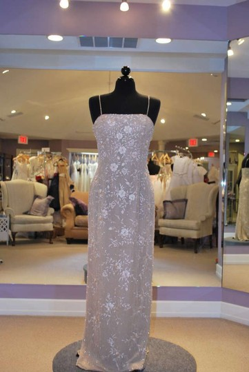 Montage by Mon Cheri Champagne Gold Chiffon Beaded 21917 Formal Bridesmaid/Mob Dress Size 8 (M)