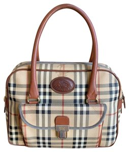 Burberry London Of Vintage Nova Check Leather Satchel in Beige, Brown