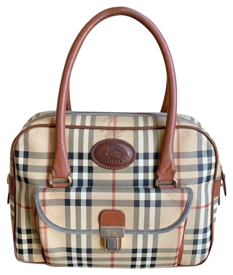 Burberry London Of Vintage Nova Check Leather Satchel in Beige, Brown Image 0